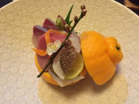 Celebration Meal, 1: sashimi - the snapper, the piece with scales, was my favorite
